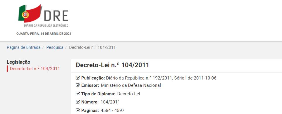 Decreto-Lei n.º 104/2011