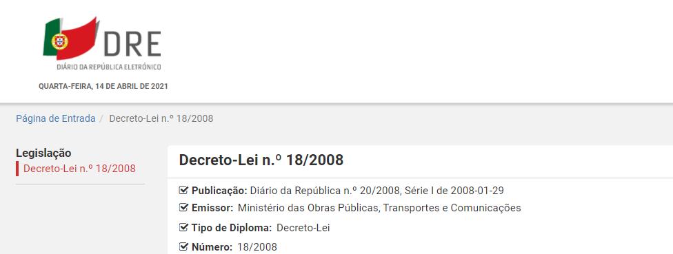 Decreto-Lei n.º 18/2008
