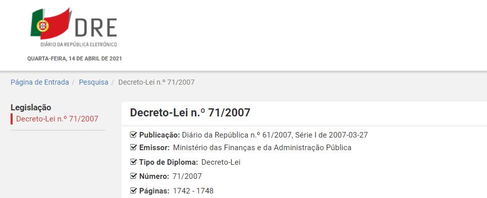 Decreto-Lei n.º 71/2007