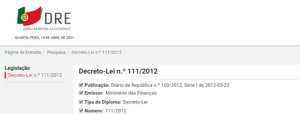 Decreto-Lei n.º 111/2012