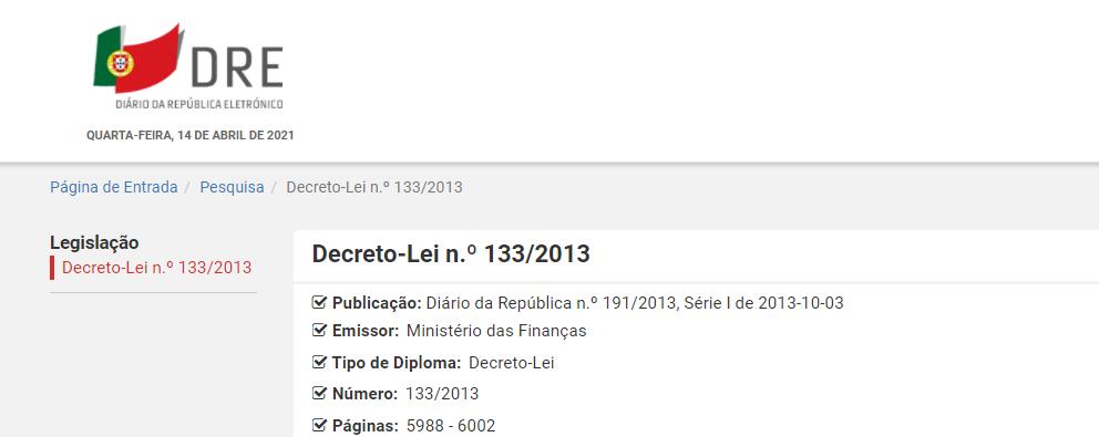 Decreto-Lei n.º 133/2013