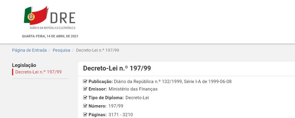 Decreto-Lei n.º 197/99