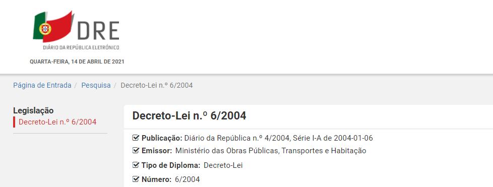 Decreto-Lei n.º 6/2004