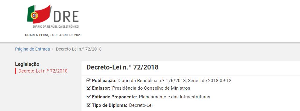 Decreto-Lei n.º 72/2018