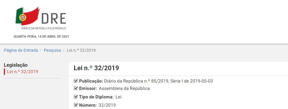 Lei n.º 32/2019
