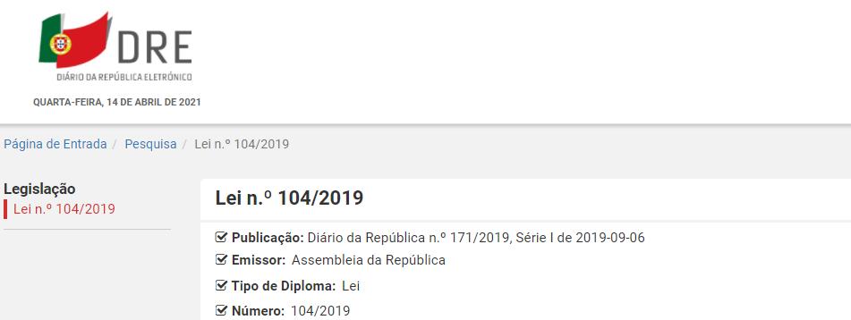 Lei n.º 104/2019