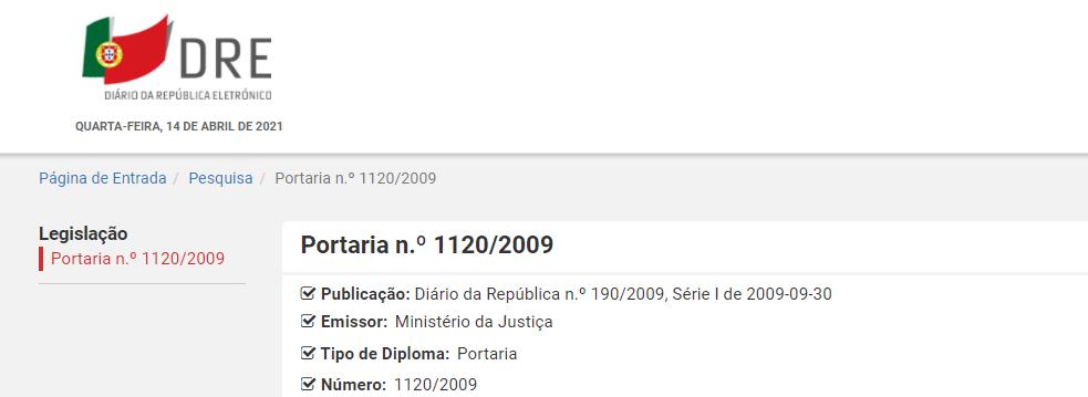 Portaria n.º 1120/2009