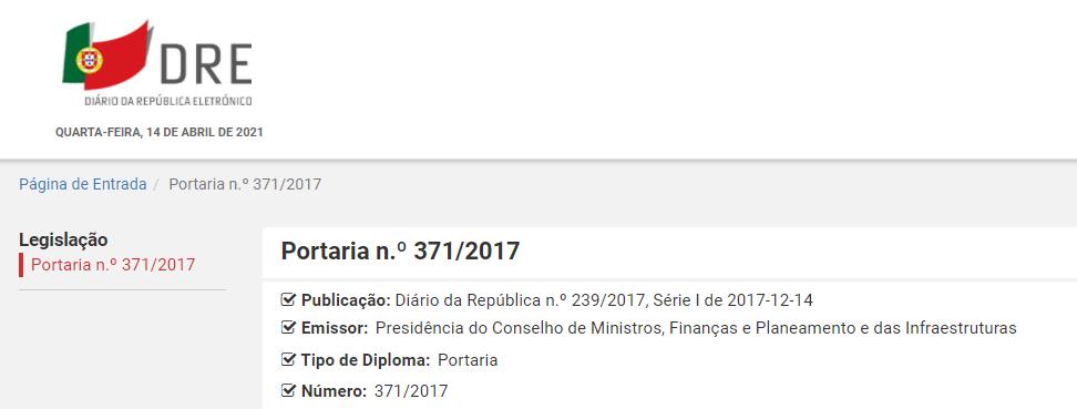 Portaria n.º 371/2017